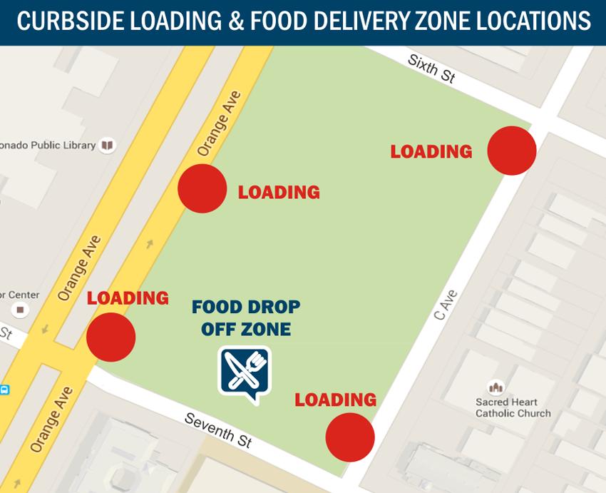 Coronado Concert Curbside & Food Delivery Zones